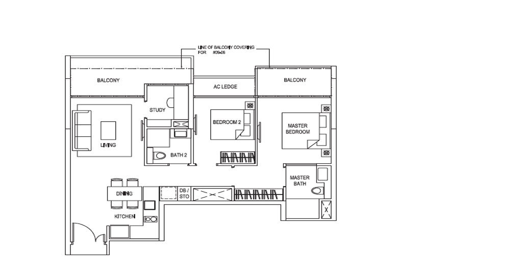 New Launch Condo - Goodwood Grand - Floorplan - 2-Bedroom + Study