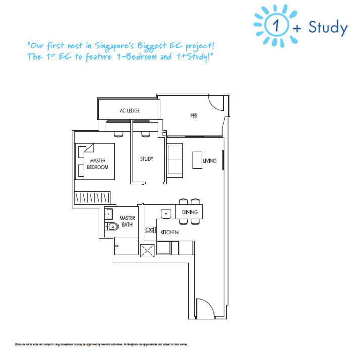 Sol Acres - FloorPlan - 1 Bedroom + Study