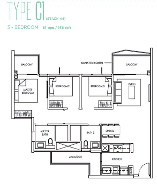 Alps Residences - Floor Plans - 3 Bedrooms