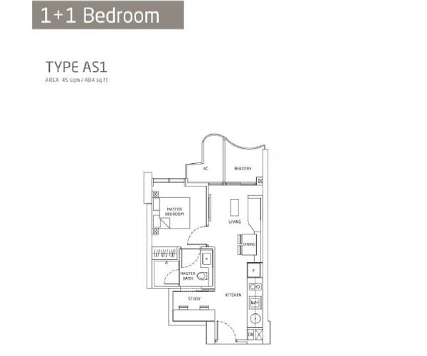 Queens Peak - Floorplans - 1 Bedroom With Study