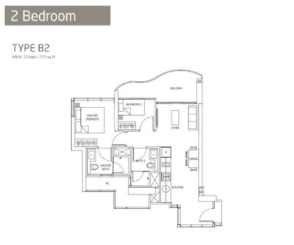 Queens Peak - Floorplans - 2 Bedroom