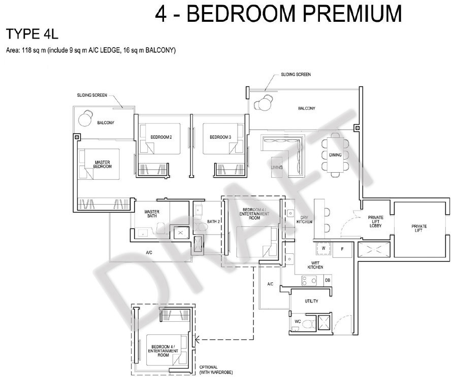 Grandeur Park Residences - Floorplan - 4 Bedroom Premium