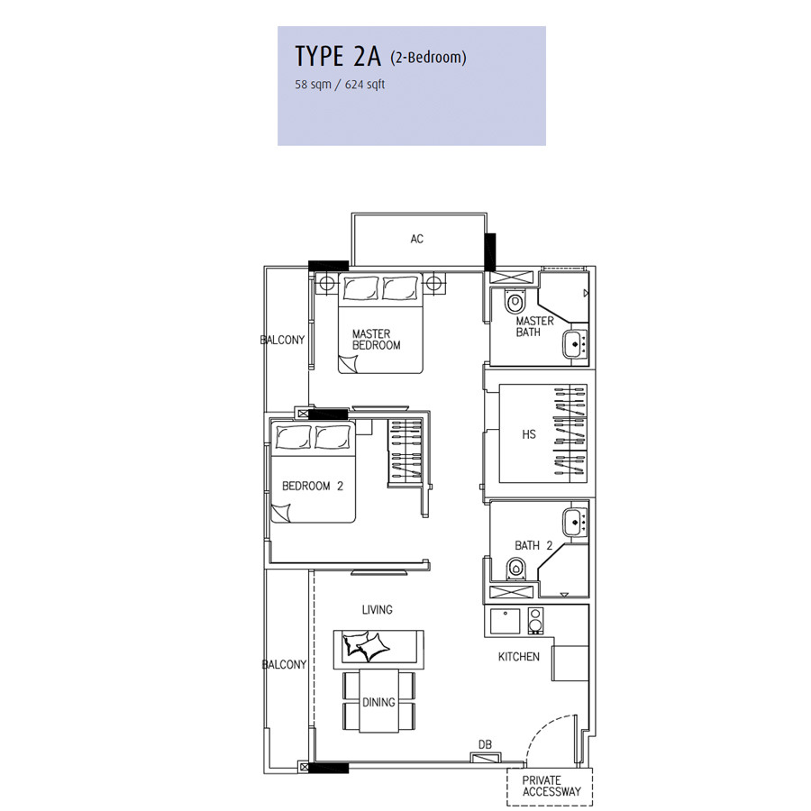 24 One Residences @ Pasir Panjang- Floorplan -2 -Bedroom