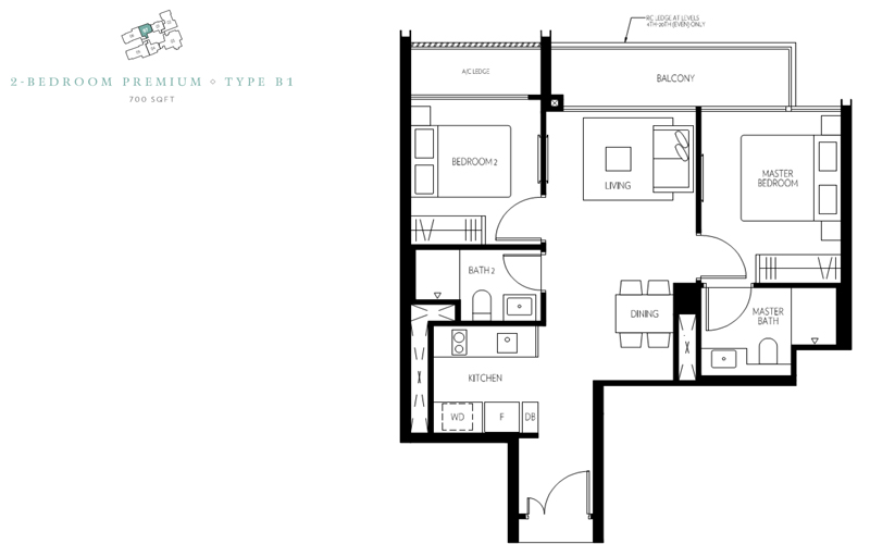 Amber 45 - Floorplan - 2 bedroom