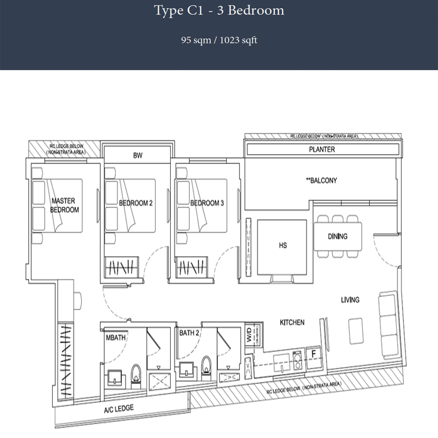 Parkwood Residences - Floorplan - 3 Bedroom