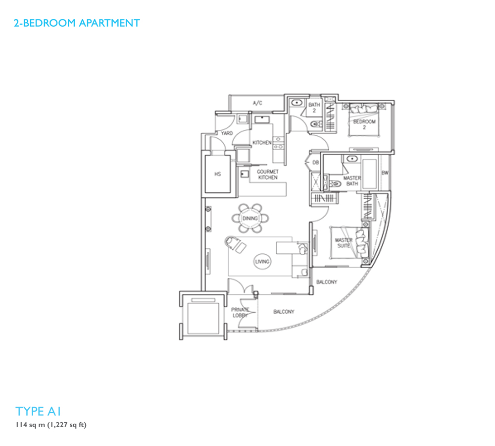W Residences Sentosa Cove - Floorplan - 2 Bedroom