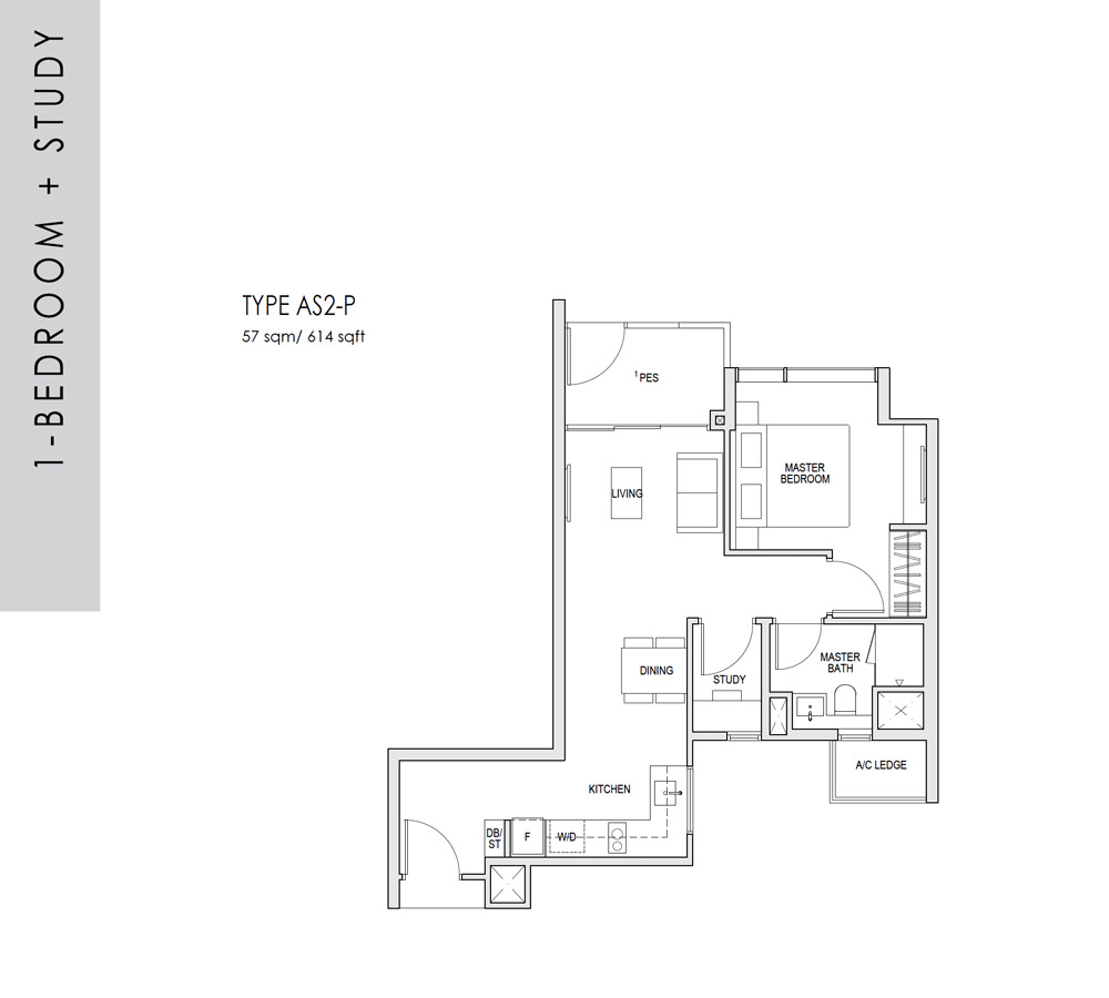 Kent Ridge Hill Residences - Floorplan - 1 Bedroom with Study