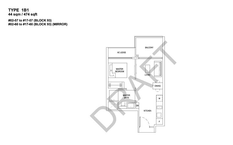 The Florence Residences - Floorplan - 1 bedroom