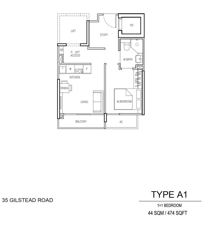 35 Gilstead - Floor Plan - 1 Bedroom