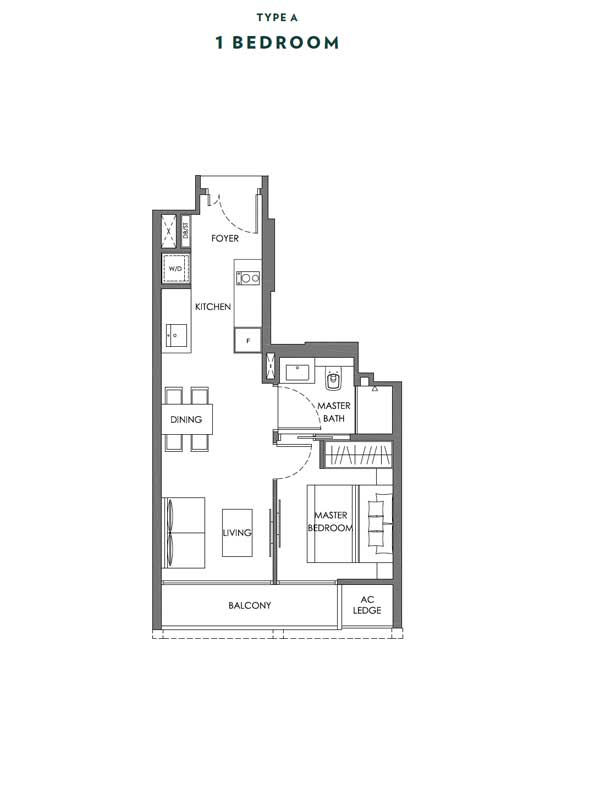 Nyon - Floor Plans - 1 Bedroom - Type A