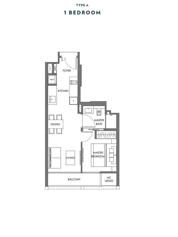 Nyon - Floor Plans - 1 Bedroom - Type A