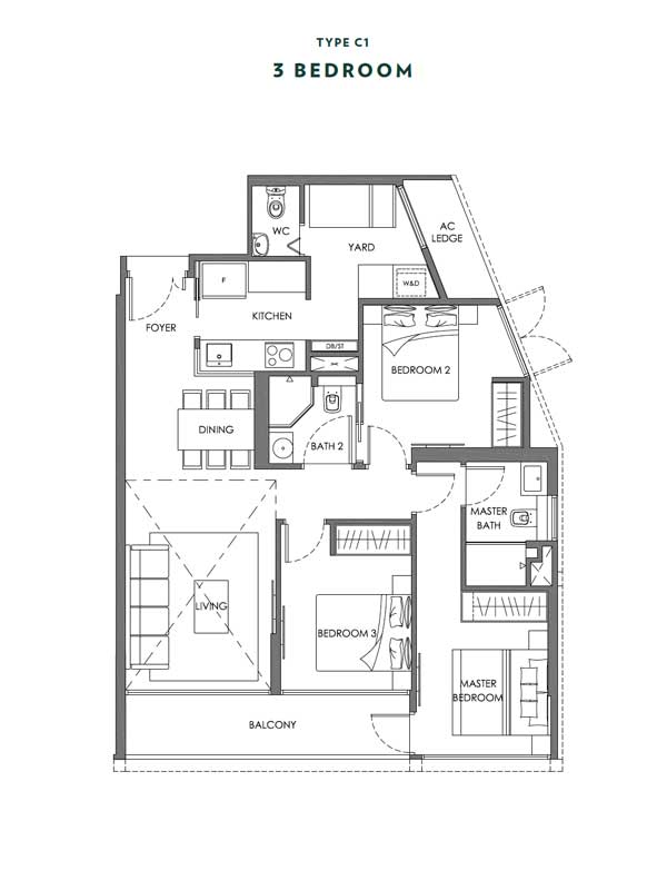 Nyon - Floor Plans - 3 Bedroom - Type C1