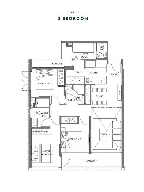 Nyon - Floor Plans - 3 Bedroom - Type C2