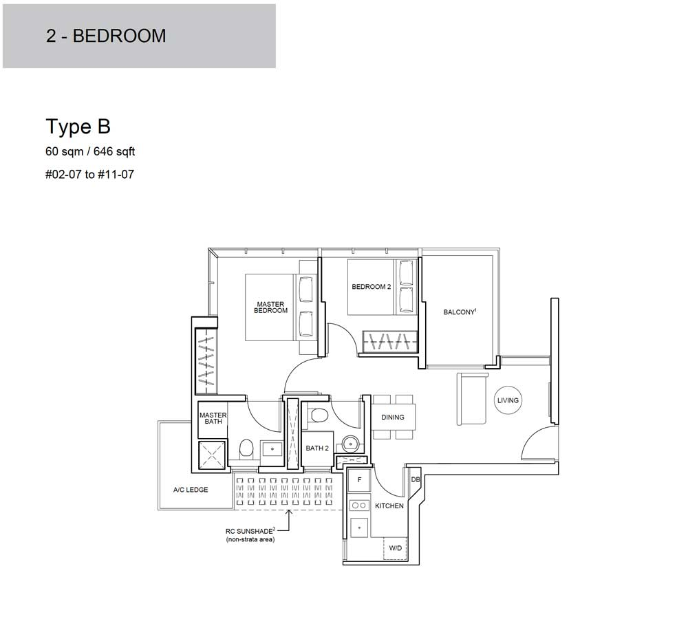 Wilshire Residences - Floor Plan - 2 Bedroom