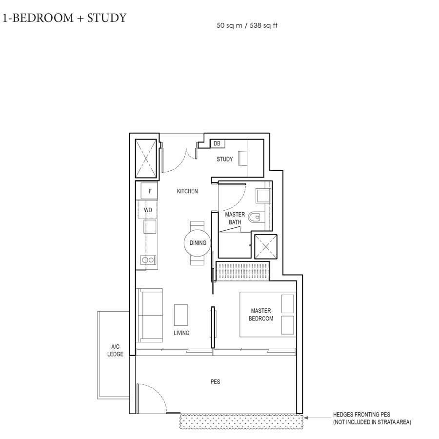 Amber Park - Floorplan - 1 Bedroom with study