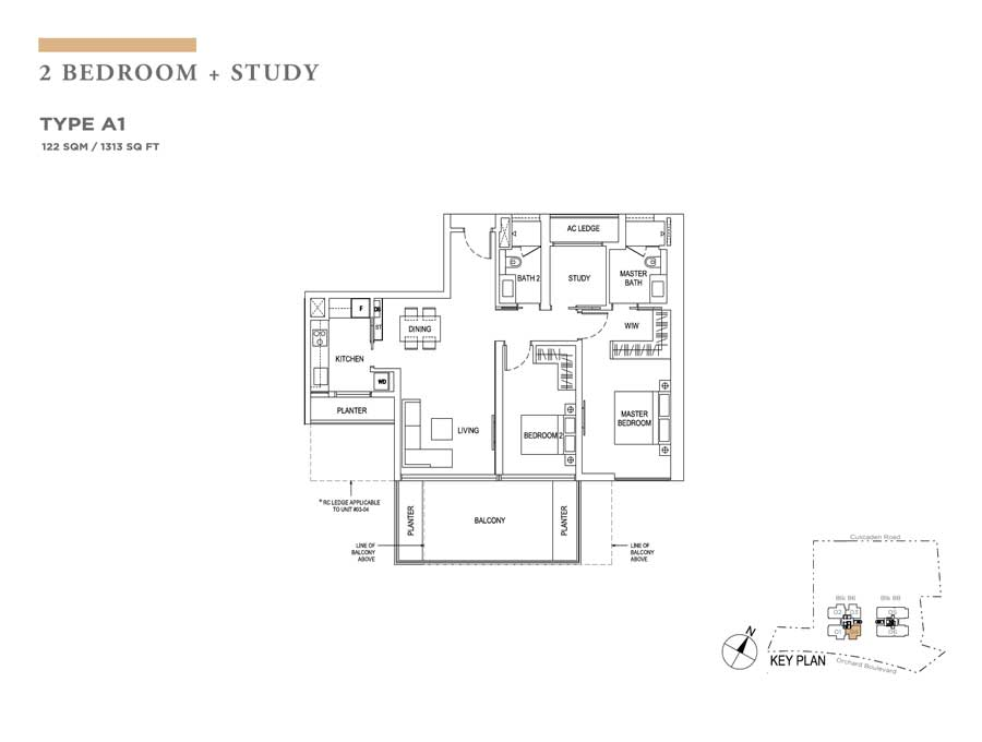 Boulevard 88 - Floorplan - 2Bedroom with Study