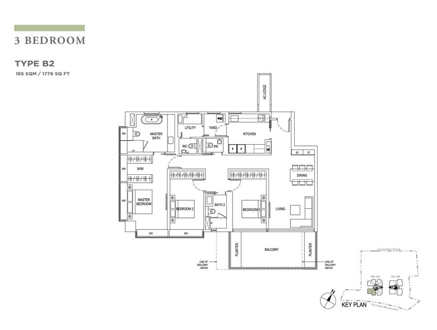Boulevard 88 - Floorplan - 3 Bedroom