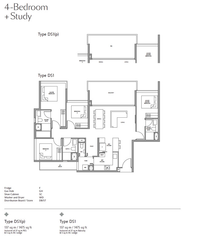 Fourth Avenue Residences -Floor plan Four Bedroom with Study
