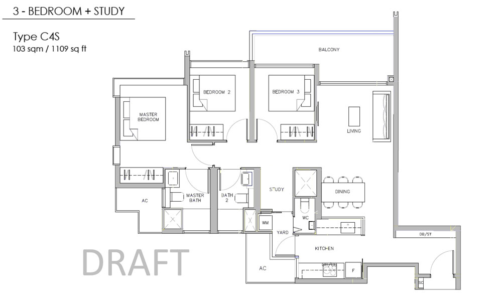 Juniper Hill - Floor Plan - 3 Bedroom with Study