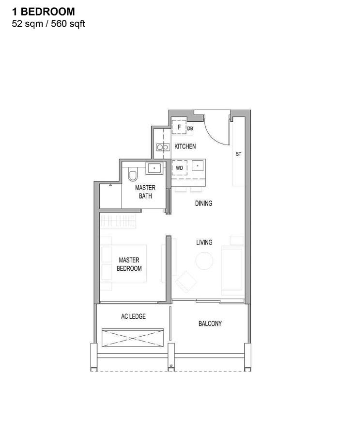 Riviere - Floor Plan - 1 Bedroom