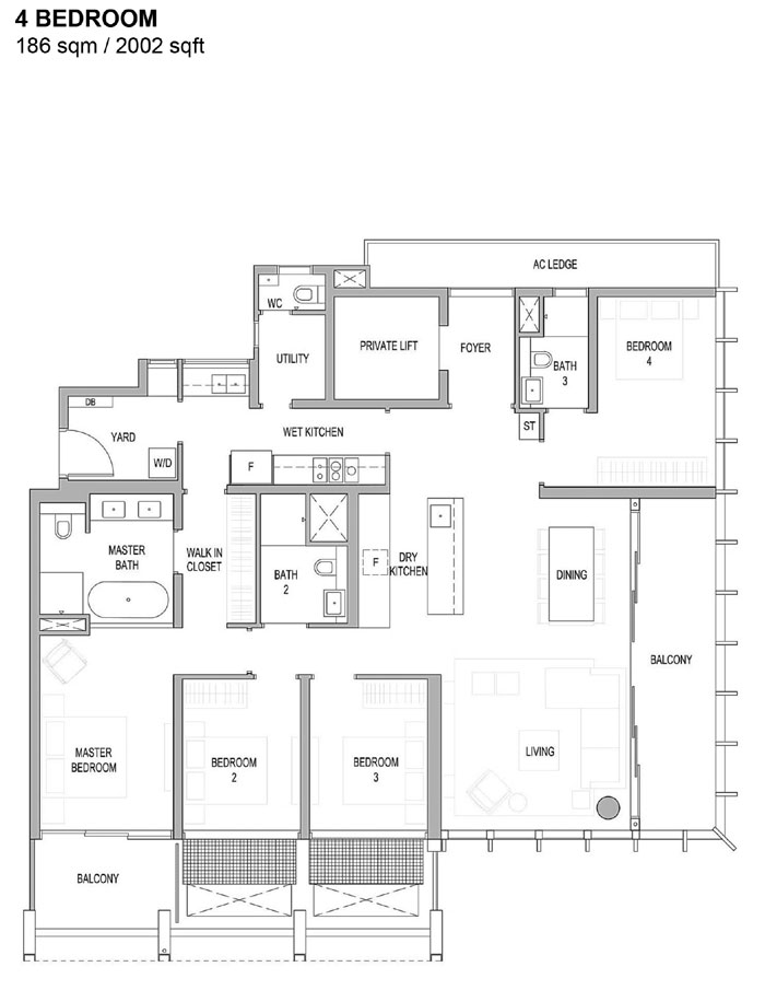 Riviere - Floor Plan - 4 Bedroom
