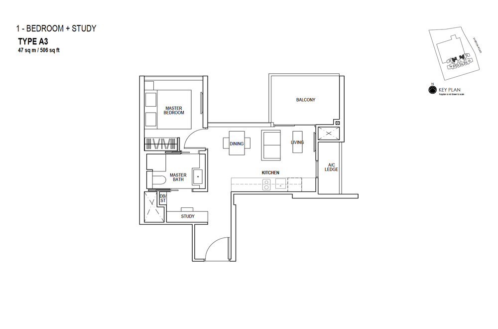 Sky Everton - Floor Plan - 1 Bedroom with Study