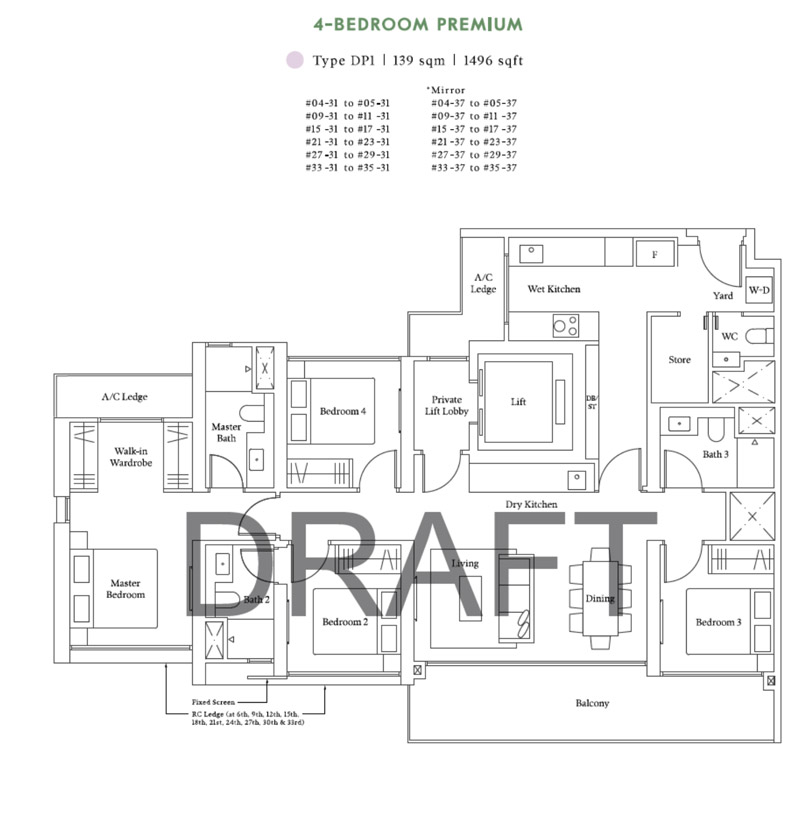 Avenue South Residence - Floor Plan - 4 Bedroom